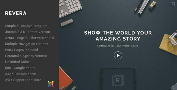 Revera – Simple and Creative Portfolio Template Joomla 3
