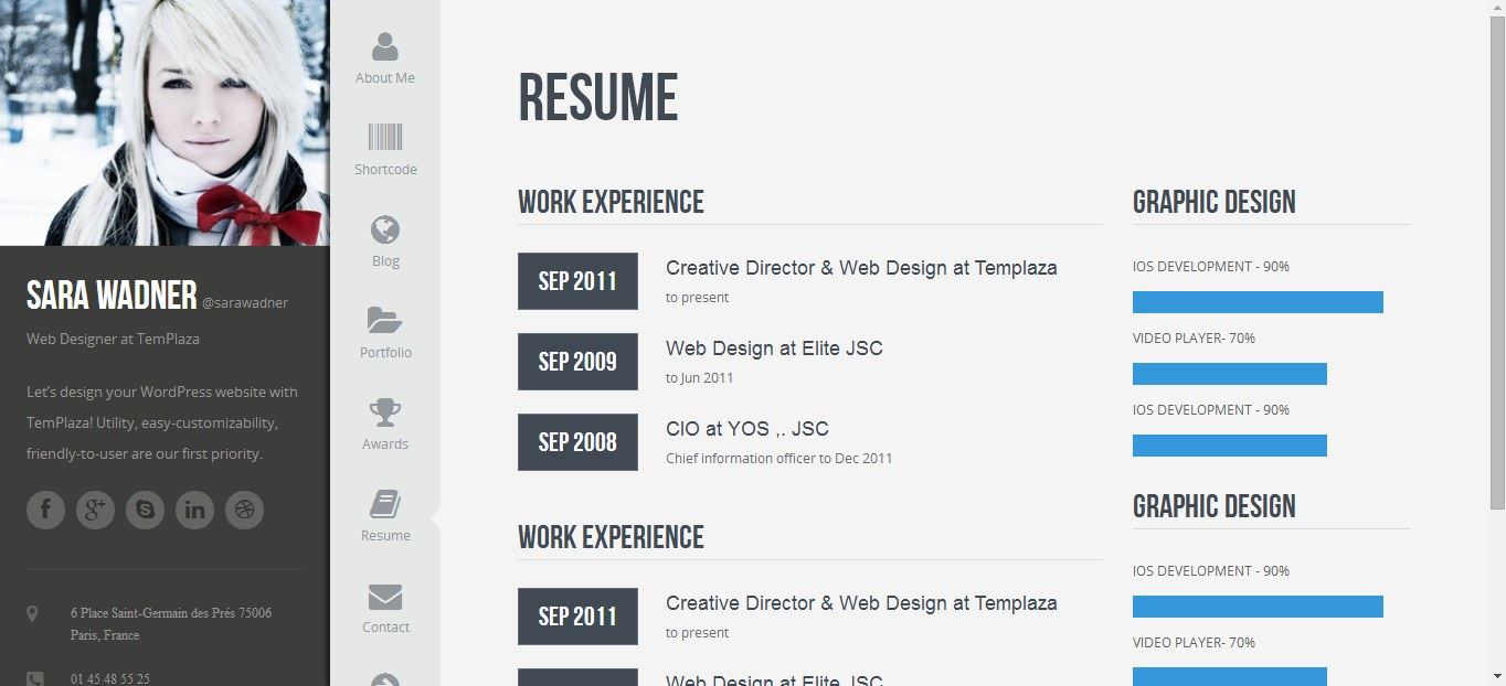 doc profiler vcard resume theme nulled