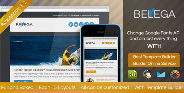BELEGA v1.2.1 – Flat Responsive Email With Template Builder