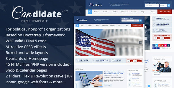 Candidate v1.2 – Political/Nonprofit HTML Theme