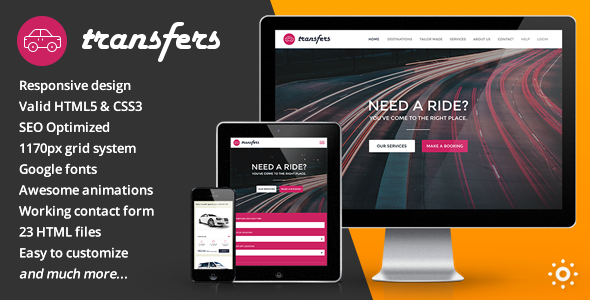 Transfers v1.0 – Transport and Car Hire HTML Template