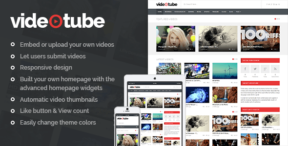 VideoTube v1.3.4.3 – A Responsive Video WordPress Theme